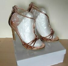 Chic Rose Gold Chrome PU Size 4 High Heel Shoes Rear Zips and 2 Spare Heel Caps