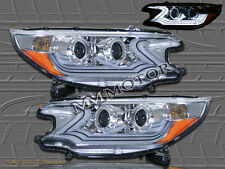 2012 2013 Honda CRV CR-V Chrome Clear Projector Headlights w/ Amber Reflectors