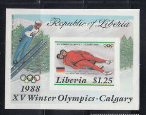 Liberia 1987  Winter Olympic Winners MS Sc 1054 IMPERF  complete MNH