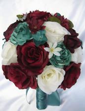 Wedding Bouquet Bridal bouquet 17 pc set Silk Flowers BURGUNDY EGGPLANT TEAL