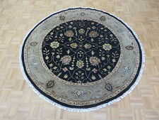 6'3 X 6'3 Round Hand Knotted Black Persian Tabriz With Silk Oriental Rug G5249