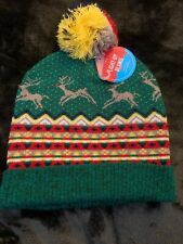 Reindeer Ugly Christmas Beanie with Pom-pom One Size Hat Green Doesn't Light Up