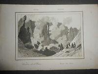 1835 INCISIONE SU ACCIAIO ARTAUD SICILIA CRATERE DELL'ETNA CATANIA