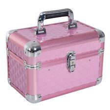 HOMCOM Valigia Trucchi Make Up da Viaggio Beauty Case Organizer 4 Ripiani Rosa