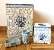 Bathroom Set 4 PC. White Blue Tile USA Wastebasket Tissue Holder Soap Dish Cup