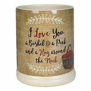 Elanze I Love You A Bushel and A Peck Stoneware JAR CANDLE WARMER Uses Metal