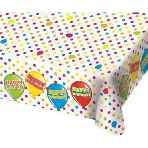 TISCHTUCH PLASTIK # Happy Birthday 1,8m Tischdecke Geburtstags Party Deko F65493