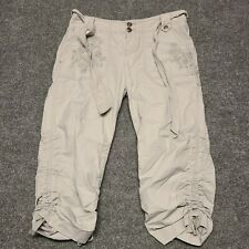 INC Casual Cargo Capris Pants Womens 4 Gray With Floral Embroiderer Belt Tie