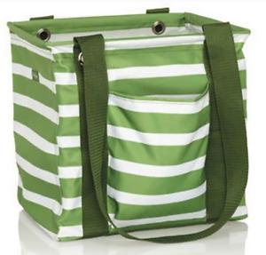 Thirty One Bag Small Utility Tote Green Cabana Stripe No Monogram