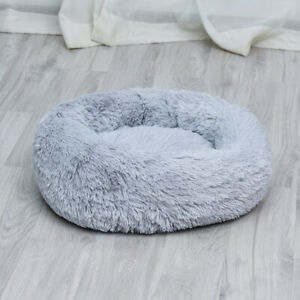 Pet Bed Calming Dog Cat Comfy Shag Warm Mattress Fur Round Nest Fluffy Cushion
