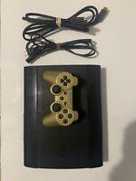 Sony PlayStation 3 Super Slim 250GB Black Console CECH-4001B w Gold DualShock 3