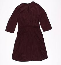 & Other Stories Burgundy Red Silky Cupro Keyhole Front 3/4 Sleeve Dress Size 10
