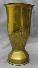 Old vintage handmade embossed brass mortar shell trench art vase