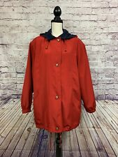 Braetan Womens Red Navy Zipper Front Long Sleeve Lined Hood Rain Coat Size Large