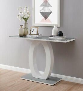 GIOVANI White Black Glass High Gloss Modern Living Hallway Console Side Table