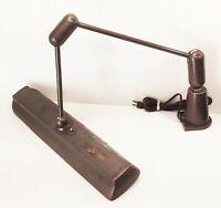 Vtg antique industrial factory machine light adjustable lamp arm fixture shade