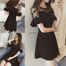 Korean Fashion Women Lace Evening Party Plus Size Summer Slim Short Bubble Dress