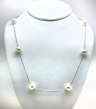 GENUINE WHITE PEARLS WITH CHAIN LINKS NECKLACE 14K WHITE GOLD **Free Shipping **