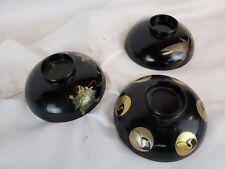 set of 3 vintage japanese lacquerware bowls