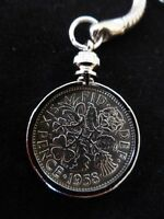 Lucky Sixpence Keyring 1947 - 1967 Birthday, Christmas, Wedding. In a GIFT POUCH