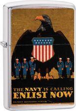 Zippo Vintage War Poster Bond Enlist Now US Navy Lighter Brushed Chrome 29597
