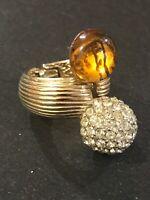 Vintage Castlecliff Pre-Columbian Larry Verba Amber Rhinestone Open Hinged Ring