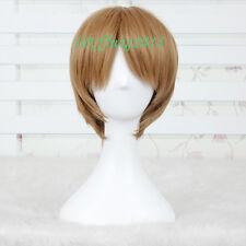Axis Powers Hetalia America Short Brown Straight Cosplay Wig CC99+a wig cap