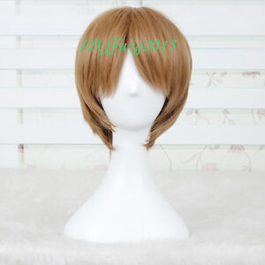 Axis Powers Hetalia America Short Brown Straight Cosplay Wig CC99+a wig cap