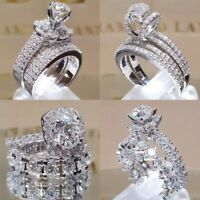 2pcs/set White Sapphire 925 Silver Ring Women Wedding Bridal Jewelry New Sz 5-11