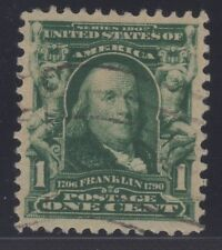 US STAMP #300   1c FRANKLIN  XF USED  GRADED 90