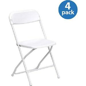 HERCULES (4-Pack) Series Premium Plastic Folding Chair, White