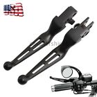 Black Brake Lever Set Slotted Clutch Levers For Harley Touring Dyna 1996 2014 US