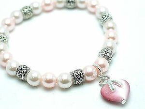 Pink Ribbon Angel Breast Cancer Awareness Faux White Pearl Bracelet
