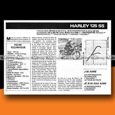 ★ HARLEY-DAVIDSON 125 SS ★ 1977 Essai Moto / Original Road Test #c331