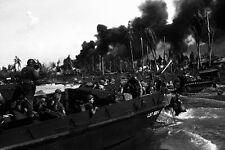 New 5x7 World War II Photo: Australian Troops Storm Balikpapan, Borneo - 1945