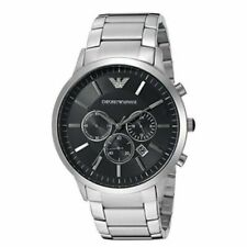 NEW GENUINE EMPORIO ARMANI AR2460 MENS STEEL BLACK DIAL SILVER BRACELET WATCH UK