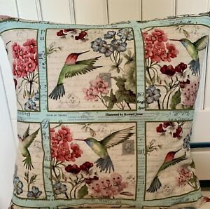 Hummingbirds and Flowers Throw Pillow Cover