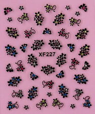 Nail Art 3D Decal Stickers Flower Clusters & Bows with Rhinestones XF227