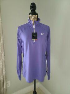 Nike Dri-fit Running 1/4 zip Top Woman's Size Large Long Sleeve Purple