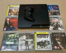 Ps3 320gb Slim Matte Black Console Bundle Controller Games.