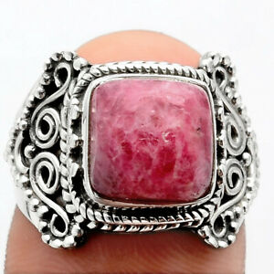 Natural Filigree - Rhodonite 925 Sterling Silver Ring s.6.5 Jewelry 4270