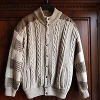 Giubbotto invernale da uomo in maglia di lana beige-imbottito