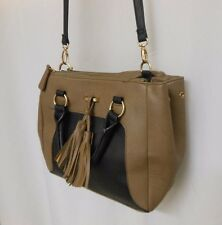 Tan and Black Cross Body/Satchel Purse with Front Tassle and Three Compartments