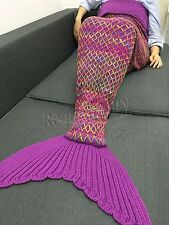 Cotton Mermaid Tail Sofa Blanket Soft Crocheted Knitted Woolen Cocoon Quilt Rug