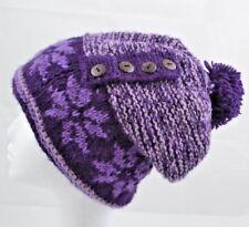 100% Nepalese Alpine Hat Handmade In Nepal Genuine Wool Ski Beanie [Purple]