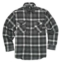 YAGO Men's Casual Plaid Flannel Long Sleeve Button Up Shirt Gray/4D (S-5XL)