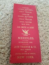 RARE ANTIQUE STEEL NEEDLES JAS SMITH & SONS 1800s CASE Salesman sample