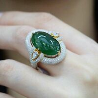 Antique Emerald 18K Yellow Gold Plated Wedding Engagement Ring Jewelry Size 6-10