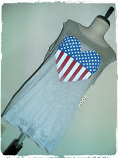 New listing Free Kisses Heather Gray Heart Flag Screened Patriotic 4th Of July Tank Top 2X