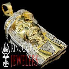 Mens 10K Yellow Gold Real 1.65'' Diamond Jesus Face Piece Pendant Charm 0.75 Ctw